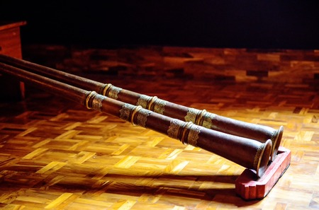Tibetan horn - dungchen - most widely used instrument in Tibetan Buddhist culture