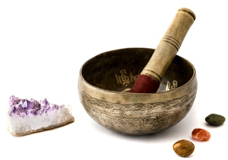 indigenous medicine: Tibetian singing bowl isolated on white