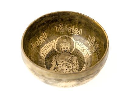 reiki symbol: Tibetian singing bowl isolated on white