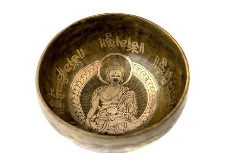 tibetian: Tibetian singing bowl isolated on white
