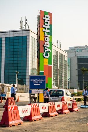 gurgaon: Gurgaon, India- 19 October, 20l4: parking driveway at cyberhub gurgaon. Editorial