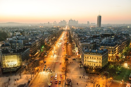 Paris view from Triumphal Arch on Champs Elysees