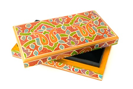 lacquered: indian lacquered rectangular box for jewel Stock Photo