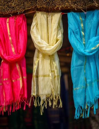 scarves: Multi-colored scarves at local market, India Stock Photo