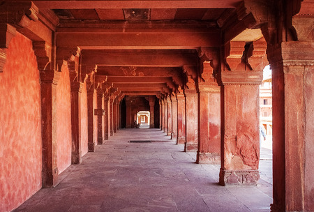 fatehpur sikri: Ancient ruins of palace. Fatehpur Sikri, India Editorial
