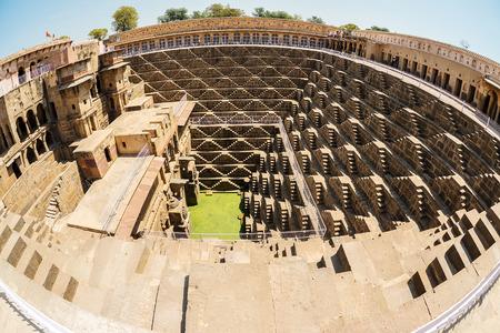 chand baori: Fisheye image of Giant stepwell inrajasthan, india