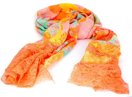 Colorful indian scarf isolated photo
