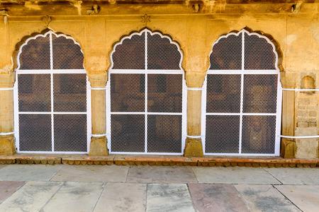 chand baori: Traditional window decoration at Chand Baori stepwell