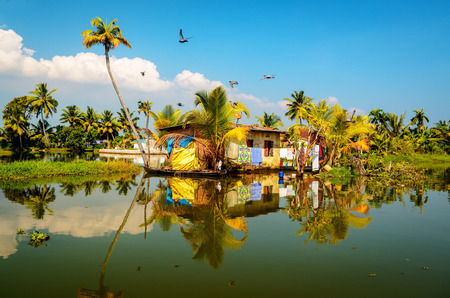 backwaters: Traditional local house in backwaters of Kerala, India Stock Photo
