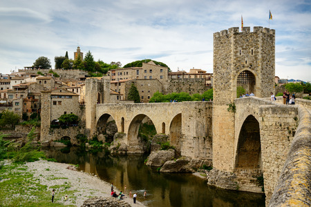 View of medieval town with castle and bridge. Besalu, Catalonia