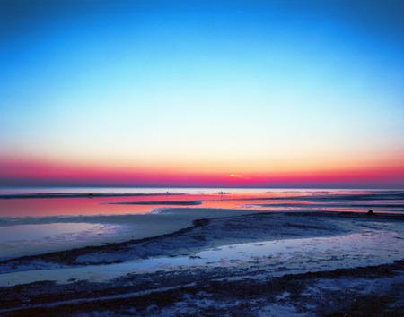jurmala: 7 film shot of Sunset on the sea, Jurmala,  Baltic sea Stock Photo