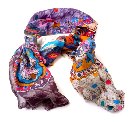 Fashionable female silk indian  scarf isolated on white