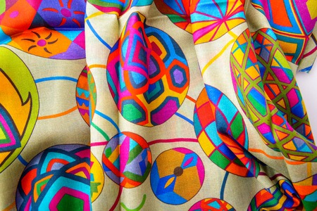 waive: colored indian silk scarf fabric waived  closeup Stock Photo