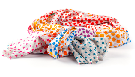 cotton fabric: Colorful motley scarf of linen and silk isolated on white