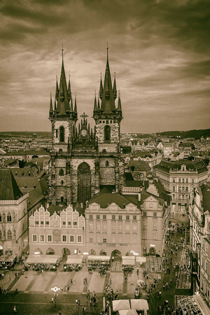 tyn: Gothic Tyn Cathedral in Old Town Square, Prague. Vintage image