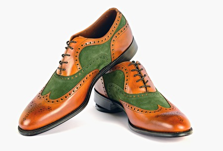 spectator: Mens Spectator Style Dress Shoes isolated Green and Brown