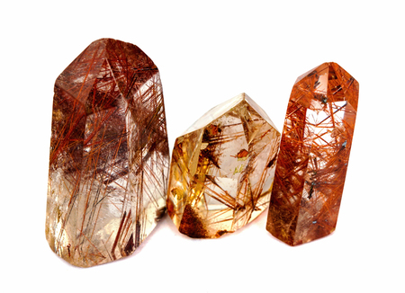 aging process: Rutilated quartz is said to slow down the aging process and is said to be a strong healer Stock Photo