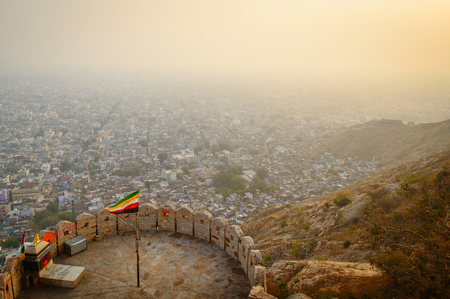 jaipur: Overlooking the pink city of Jaipur from Nahargarh or Tiger Fort Stock Photo