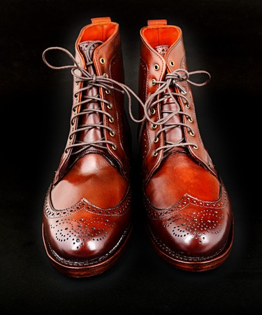 edmonds: Wingtip dark chili brown dress boots full size isolated on black background