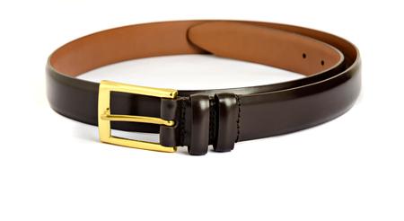chrome man: Leather burgundy belt isolated on white background Stock Photo