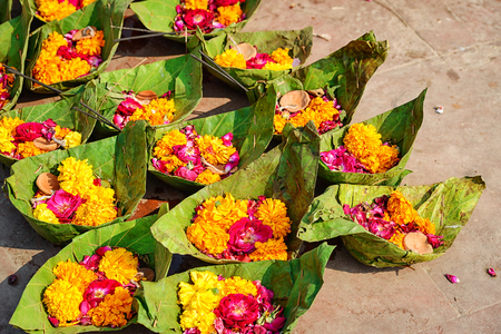 ritual: Puja flowers for aarti ceremony ritual, India