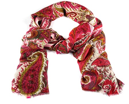 silk wool: colored wool and silk scarf isolated on white Stock Photo