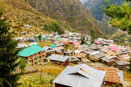 parvati: Malana village view from above , Himachal, India Stock Photo