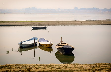Four parked Boates in ganges in Allahabad, India