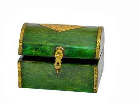 Vintage wooden casket from India Stock Photo