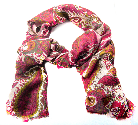 Colorful motley indian scarf isolated