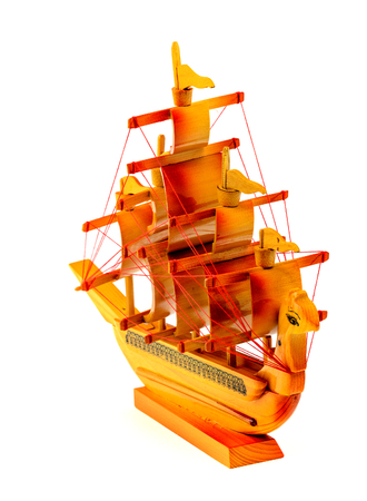Model of a wooden ship isolated on white