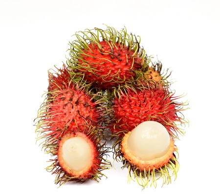 Ripe rambutan fruits isolated on white Stock Photo