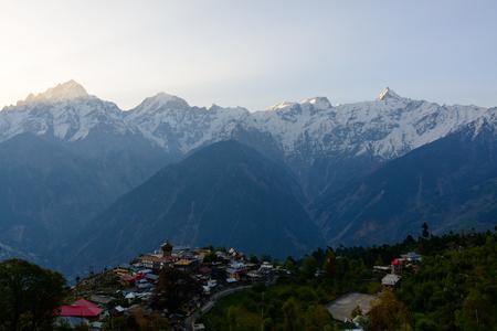 Kalpa village and Kinnaur Kailash sacred peak at sunrise view