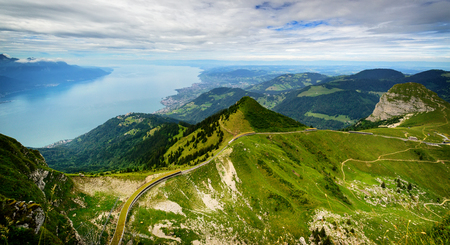 View from Rocher de Naye, Switzerland, towards Lake Leman.