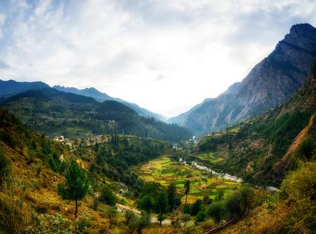 Himalayan village view from road in Parvati Valley, Himachal Pradesh