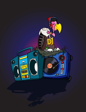 boombox: Hand Drawn DJ Vulture disco cartoon style with Boombox and Turntable - stock vector