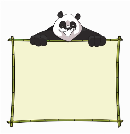 boarder: Bamboo Board with Panda. Use for websites, blogs boarder, header or informational boards - stock vector