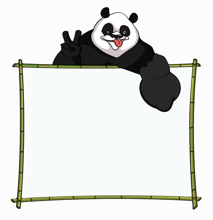 prankster: Bamboo Board with merry Panda. Best for websites, blogs boarder, header or informational boards - stock vector Illustration