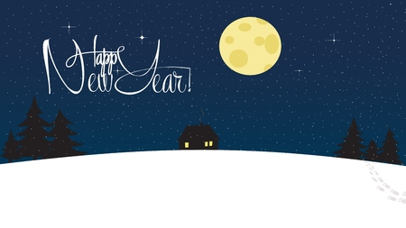 night moon: Happy New Year and Merry Christmas Snowy Wallpaper. Lonely house among wood with silhouette trees. Magical starry night with big bright round moon. Lettering, calligraphy Illustration