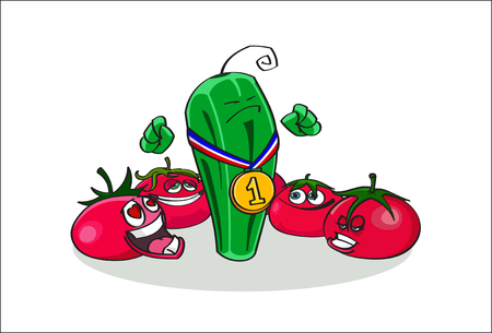 Hand drawn illustration of Champion Cucumber and his passionate Tomatos fans - hand drawn stock vector