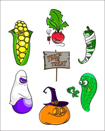 Set of Cartoon alive Vegetables in halloween costumes. Trick or treat - hand drawn stock vector