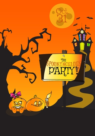Hand Drawn Halloween The Spooktaculous Party ever Poster Concept. Use it like posters, flyers, promos, cards, banners, invitations, placards, pamphlets - rasterized copy Stock Photo