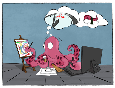 eaten: Artist, illustrator and marine animal Octopus works hard to be in time till deadline. It thinks what dead-line literally means death and it will be eaten in sushi. - concept vector illustration