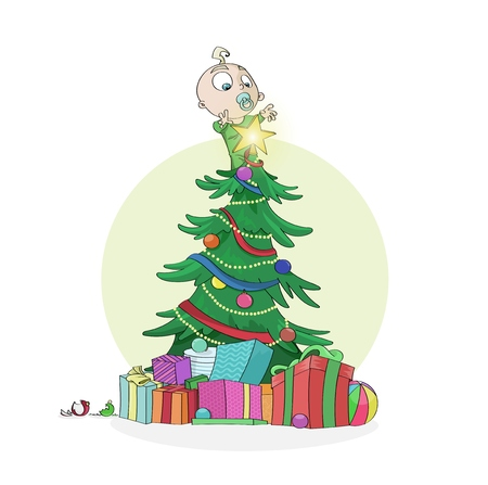 reach out: Little curious baby boy climbed on a decorated Christmas Tree to reach out the shining star on top. Merry Christmas and Happy New Year concept. Great for greeting postcards, banners and backgrounds