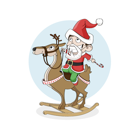 Merry Christmas and Happy New Year concept. Little boy as santa ride wooden reindeer. Great for greeting cards, postcards, banners and backgrounds Illustration