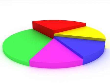 3D illustration-business statistics on a white background
