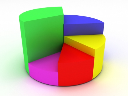 白の背景に 3 D のイラスト業務統計 写真素材