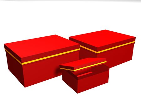 Gift boxes of red color on a white background photo