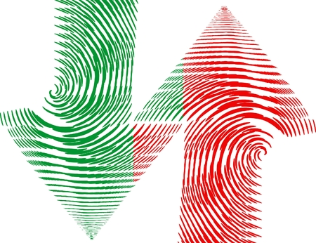 abstract arrows of green and red colour Vector