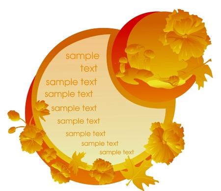 秋の葉、花、きのこ  イラスト・ベクター素材
